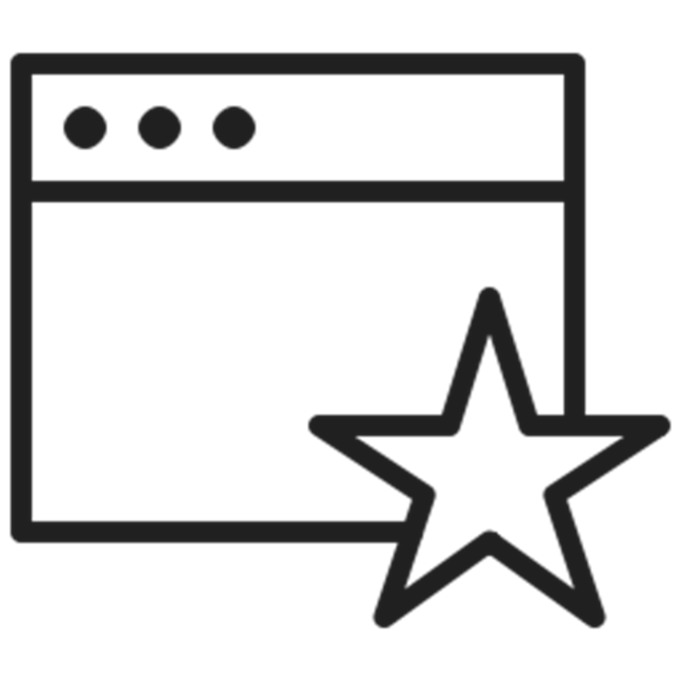 browser window with star icon